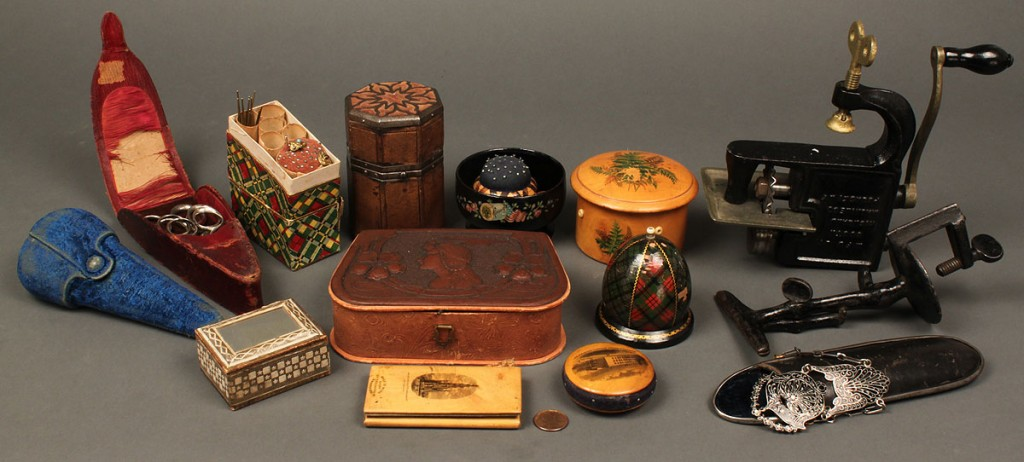 Lot 665: Lot of assorted sewing notions including Tartanwar