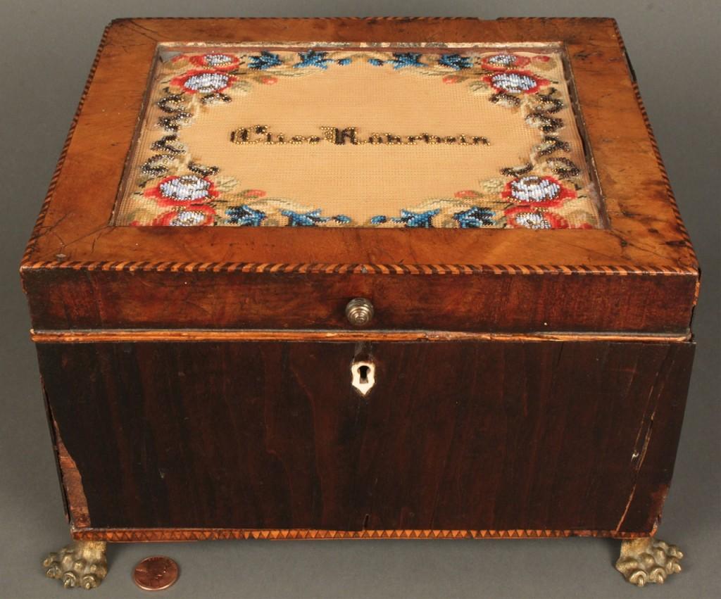 Lot 667: Regency sewing box w/ berlinwork patterns, 19th c.