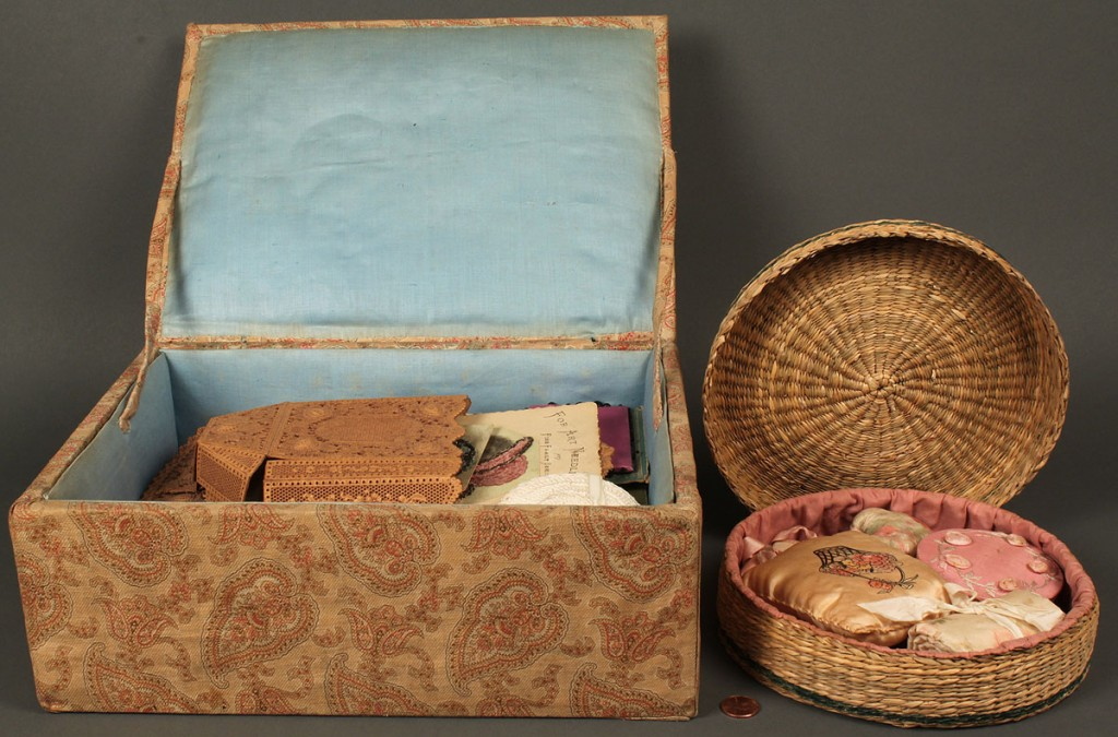 Lot 670: Two vintage sewing boxes with contents