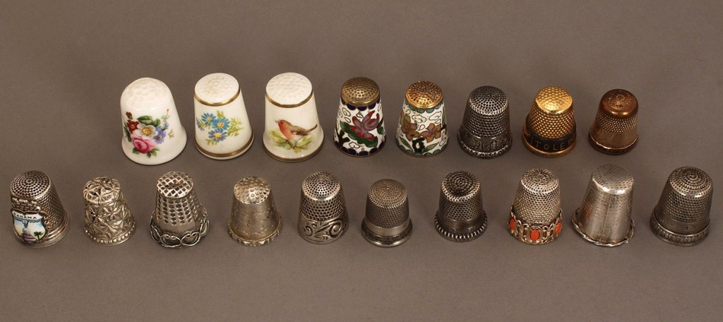 Lot 672: 17 Assorted Thimbles, incl. 9 sterling