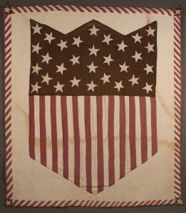 Lot 678: Patriotic hand stitched Quilt with Union Shield