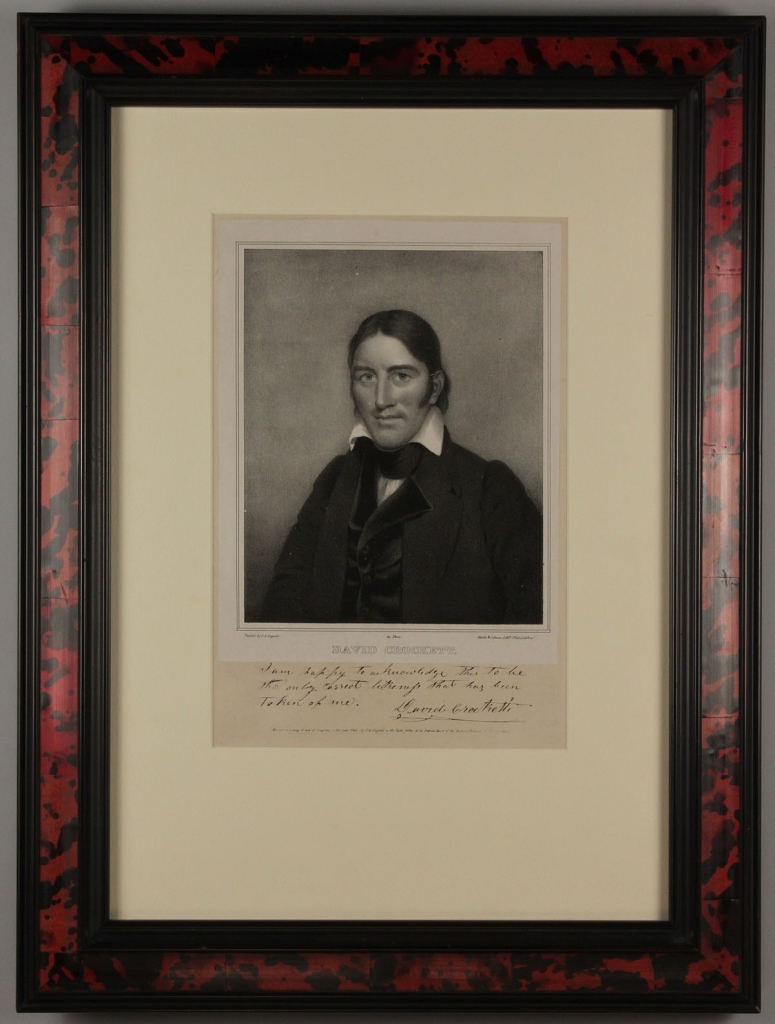 Lot 67: Davy Crockett lithographed portrait and signature