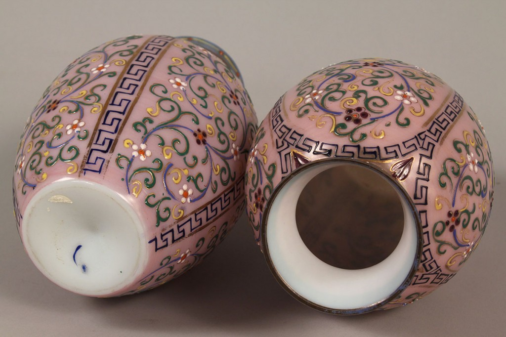 Lot 681: Pair of Webb  Art Glass Vases