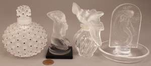 Lot 684: Lalique lot of 4, 2 Perfume Bottles, 2 Nude Figure