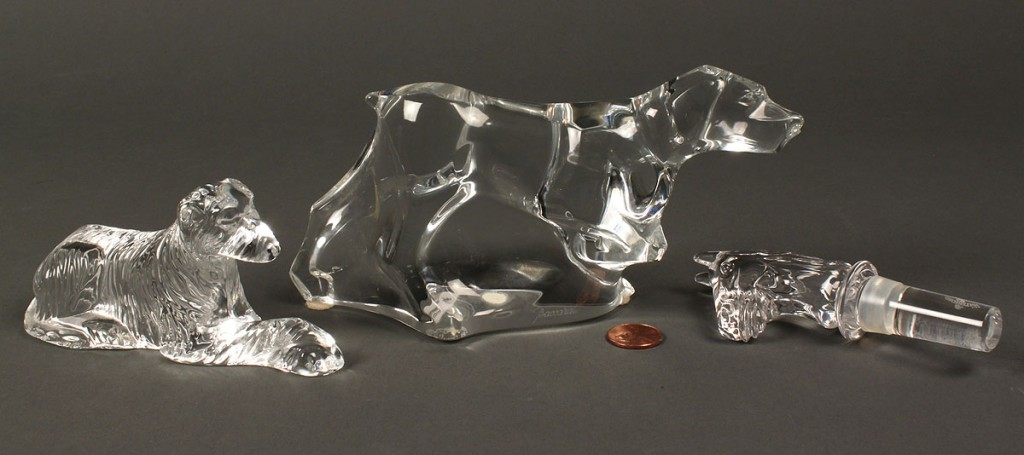 Lot 689: 12 glass items,paperweights, Baccarat, Waterford