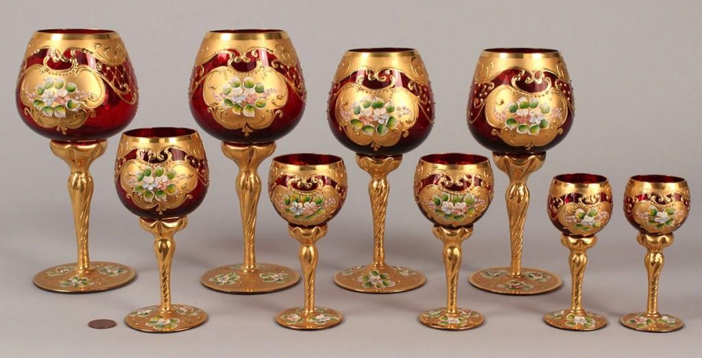 Lot 691: Enameled Cranberry Glass Stemware, 9 pcs
