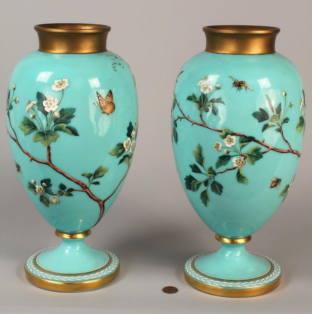 Lot 692: Pair of enameled Bristol Glass Vases