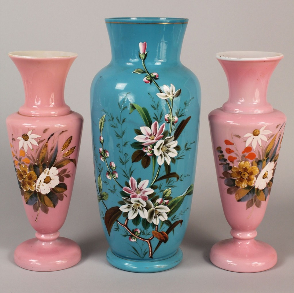 Lot 694: Grouping of Bristol Glass Vases, 3 items