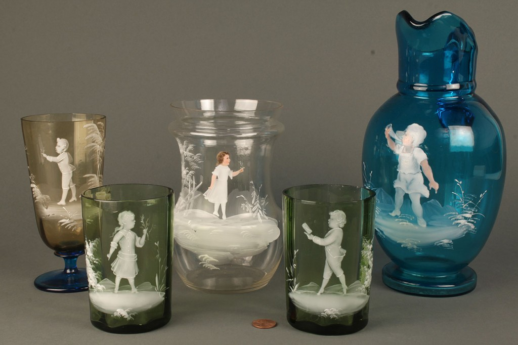 Lot 695: Five pieces of Mary Gregory Glassware