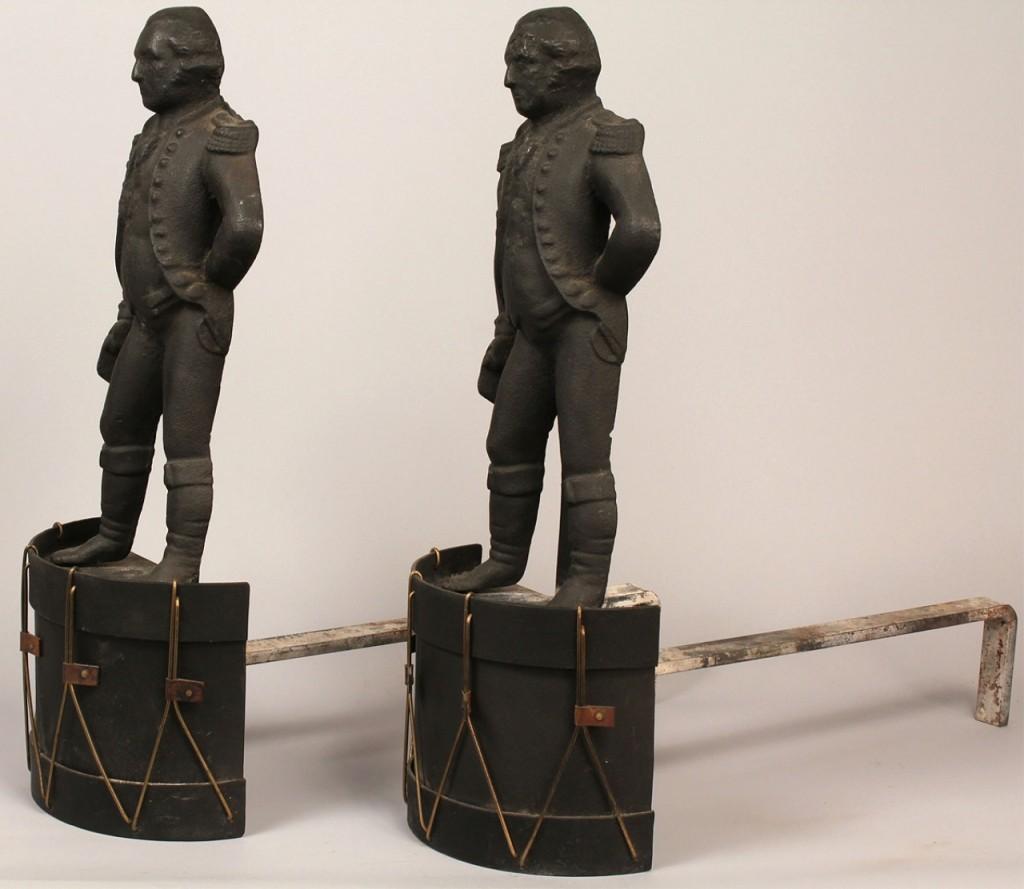 Lot 699: George Washington figural andirons