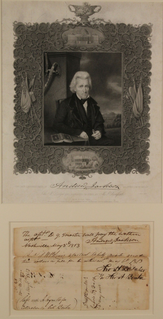 Lot 69: War of 1812, Jackson and Benton signed document