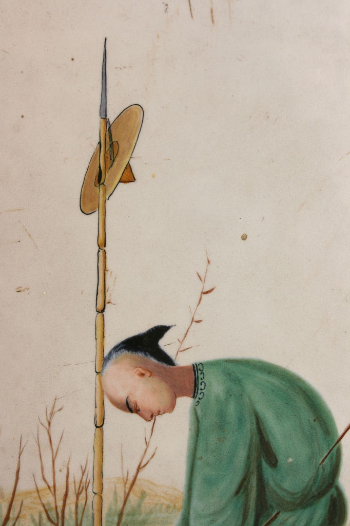 Lot 700: Chinoiserie Enameled Cast Iron Wall Panel, signed