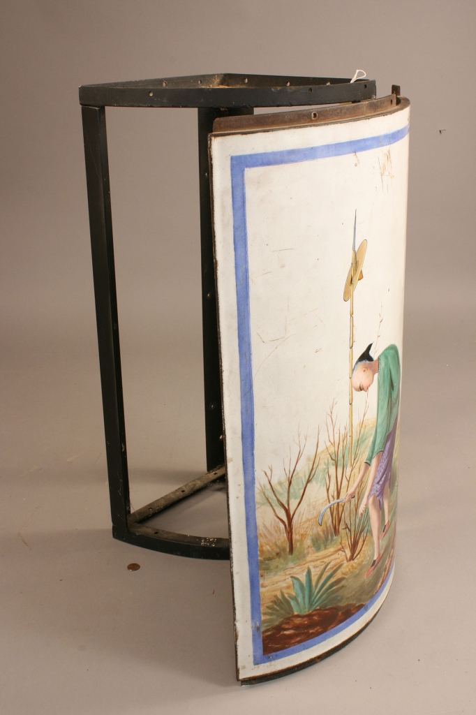 Lot 700: Chinoiserie Enameled Cast Iron Wall Panel, signed | Case ...