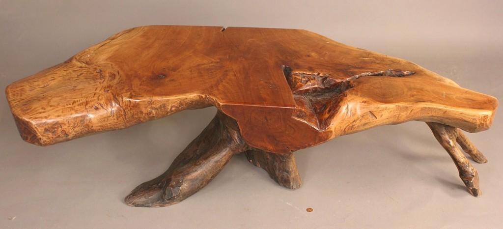 Lot 709: Modern style coffee table, Nakashima style