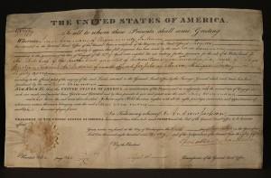 Lot 70: Andrew Jackson signed land grant, 1830