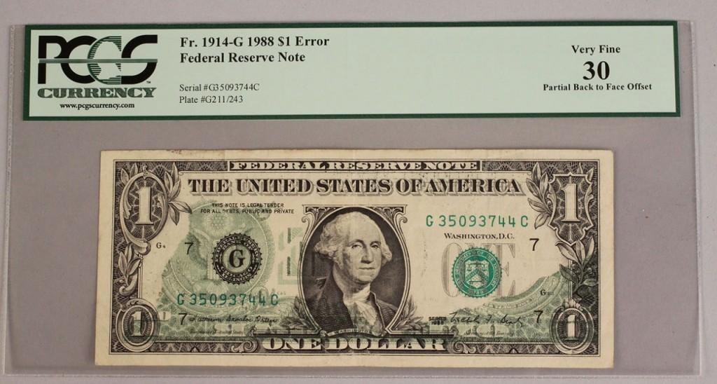 Lot 712: 1914 – G 1988 $1 Federal Reserve Note Error