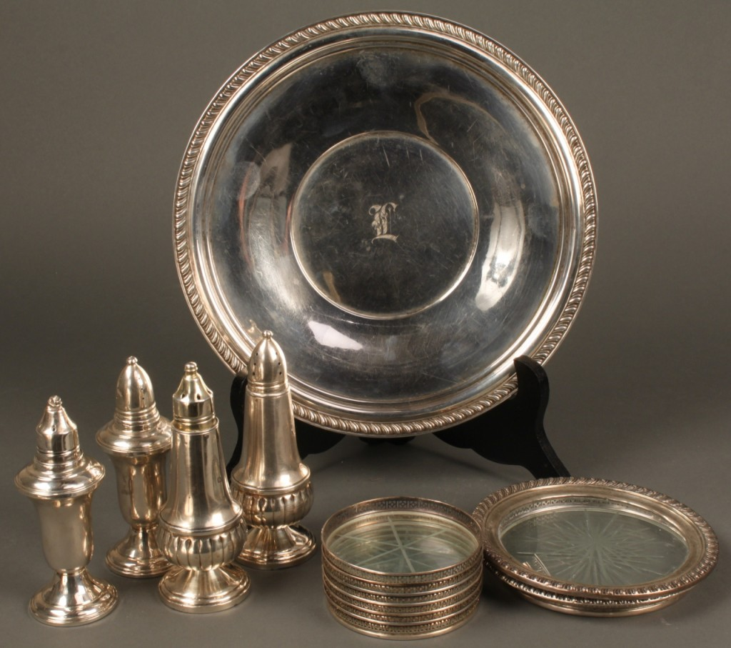 Lot 715: Silver & Glass plate, coasters, and s/p shakers, 1
