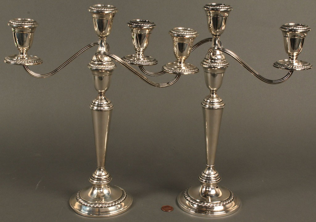 Lot 718: Pair of Alvin Sterling silver 3-arm candelabra