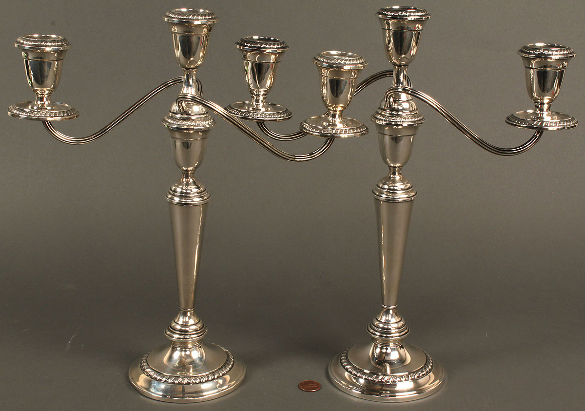Lot 718 Pair Of Alvin Sterling Silver 3 Arm Candelabra