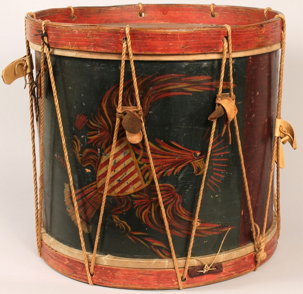 Lot 71: Early 19th century eagle decorated drum