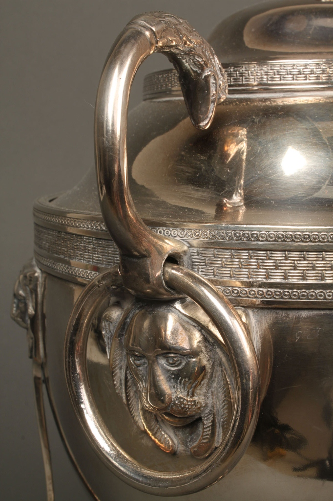 Lot 722: 19th c. Classical Silverplated coffee urn