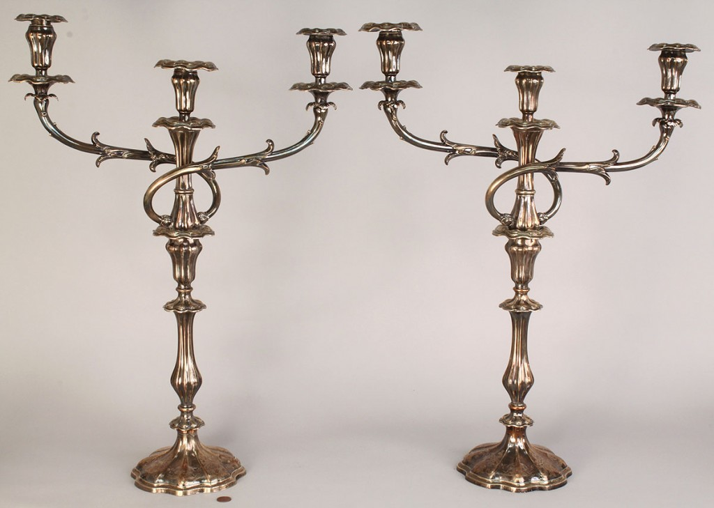 Lot 723: Pair Silver over Copper Candelabra