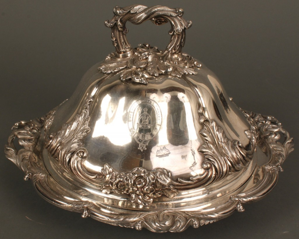 Lot 724: Victorian silverplate urn and entree dish w/crest