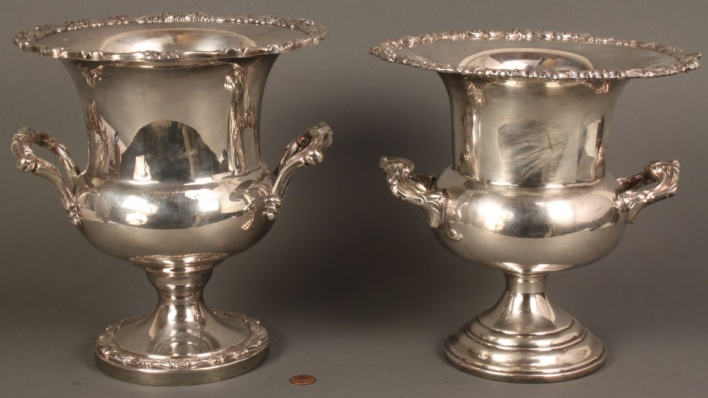 Lot 726: Two silverplated wine coolers