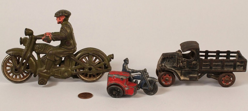 Lot 732: 3 Cast Iron toys w/ Hubley Harley Davidson, truck,