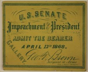 Lot 73: President Johnson Impeachment Ticket