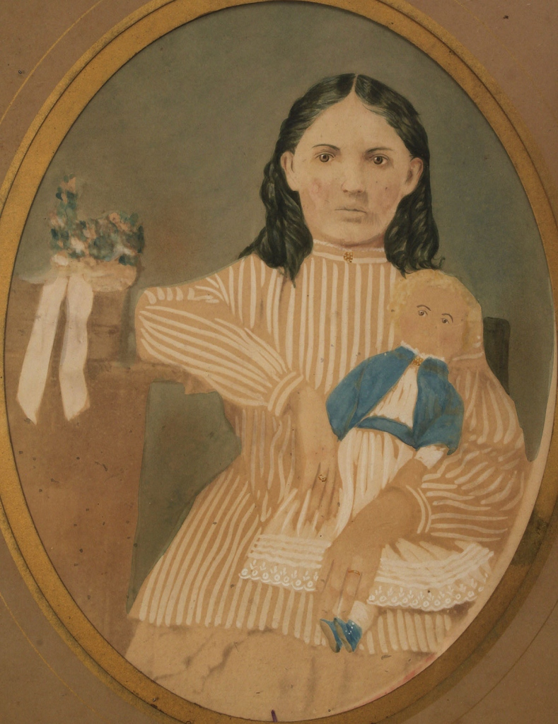 Lot 743: Folk Art Watercolor of Young Girl & Bisque Doll