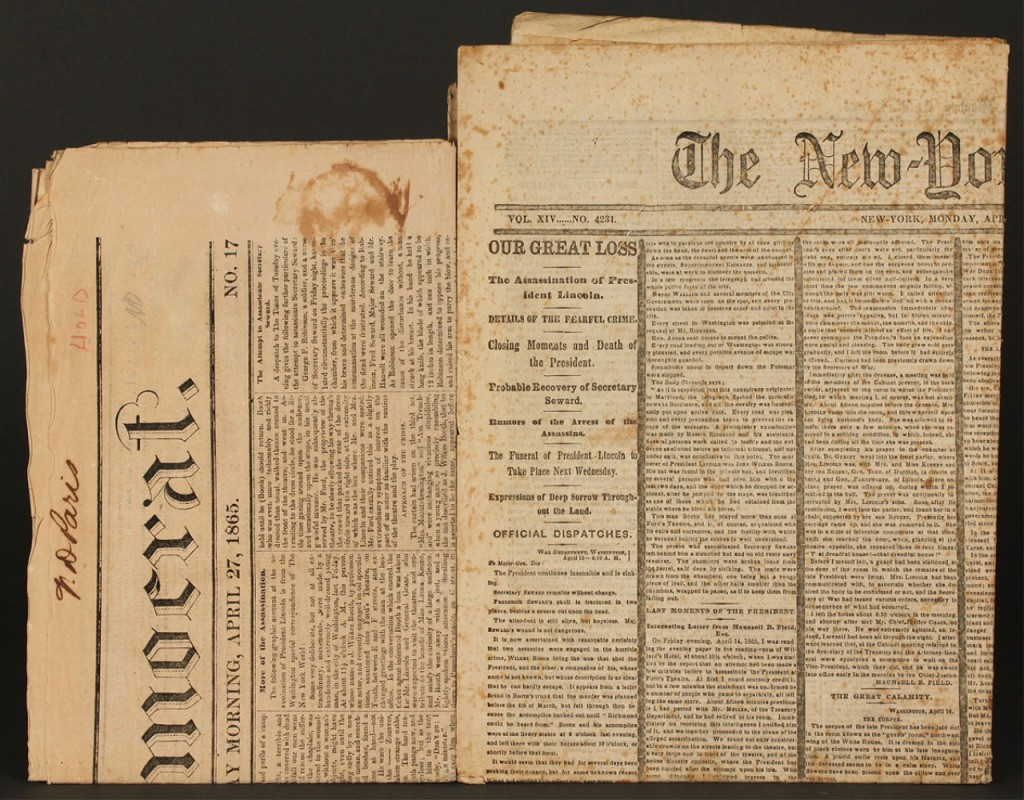 Lot 74: Two Lincoln Assassination Newspapers
