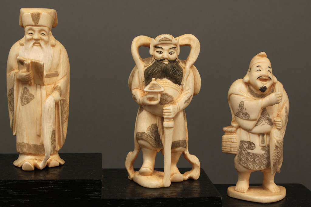 """Lot 7: Chinese Carved Ivory Set, """"Seven Lucky Gods"""""""
