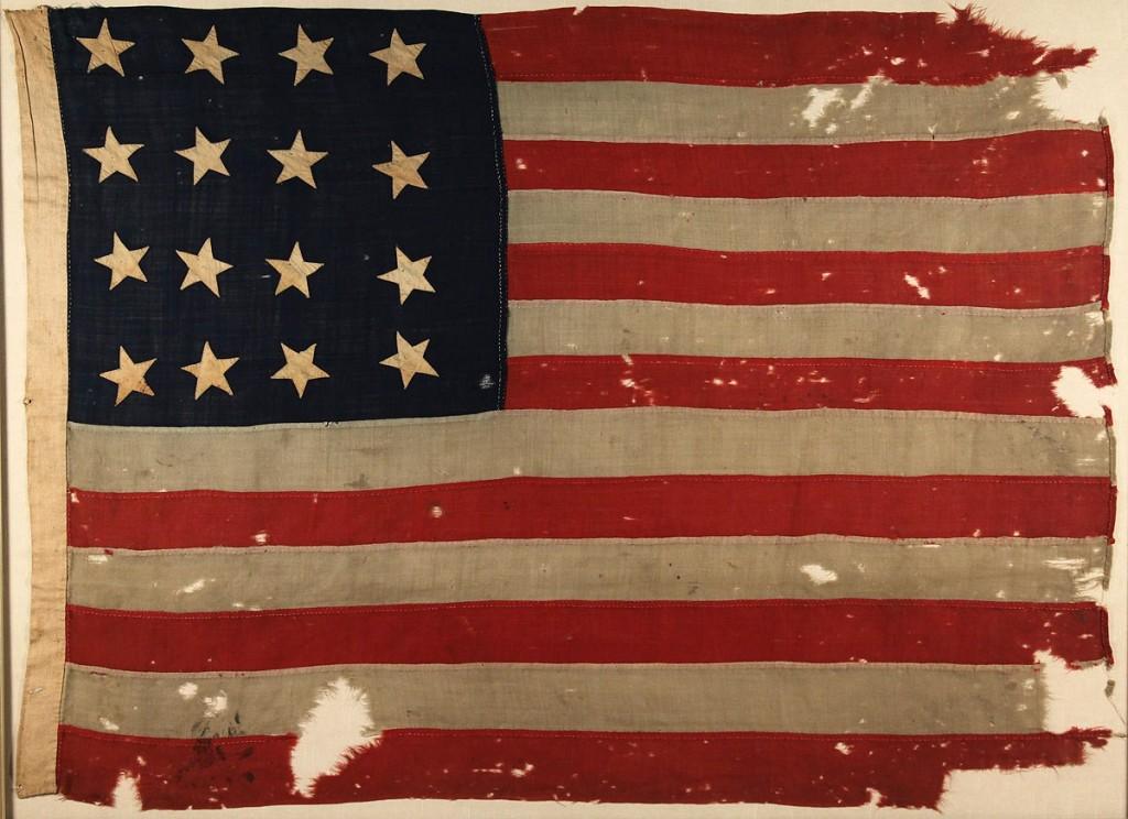 Lot 80: Sixteen Star American Flag, framed