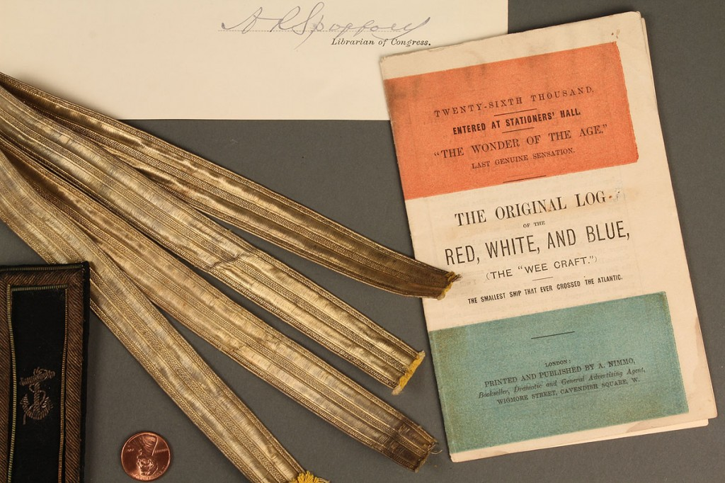"Lot 81: Rare flag & archive from ship ""Red White and Blue"""