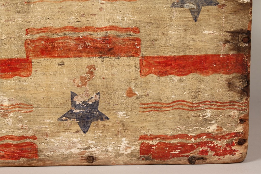 Lot 82: Patriotic painted trunk with eagles and stars
