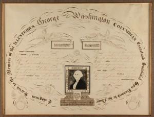 Lot 83: Calligraphy memorial to George Washington