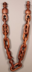 Lot 87: Folk Art Wooden Carved Figures & Chain