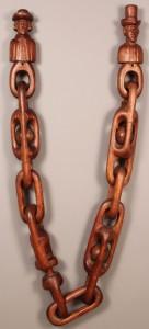 Lot 87: Folk Art Wooden Carved Figures & Chain