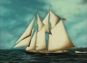 Lot 88: 19th century ship painting, reverse painting on gl