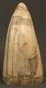 "Lot 89: Scrimshaw ivory tooth, ""Lady Liberty"""