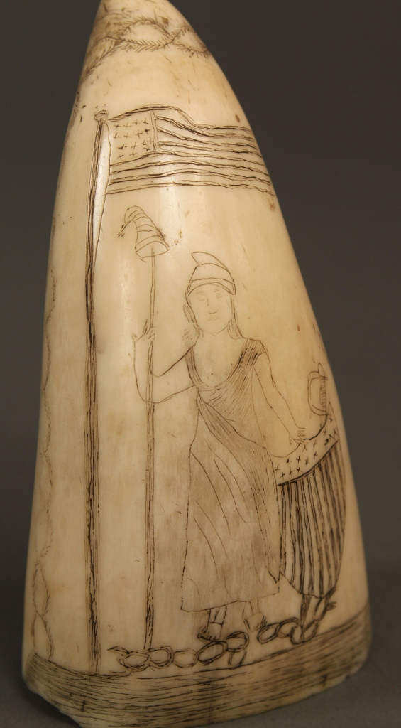 """Lot 89: Scrimshaw ivory tooth, """"Lady Liberty"""""""