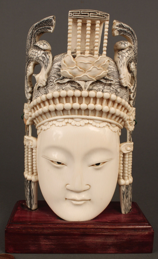 Lot 8: Chinese Carved Ivory Empress with phoenix headdres