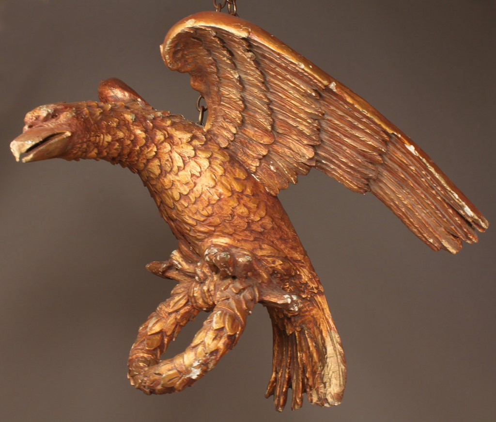 Lot 90: Large Continental hanging giltwood eagle with wrea