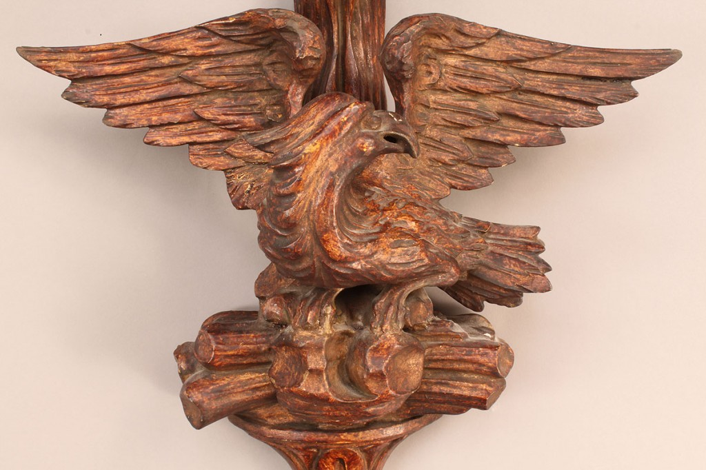 Lot 91: Large carved wood sconce with eagle