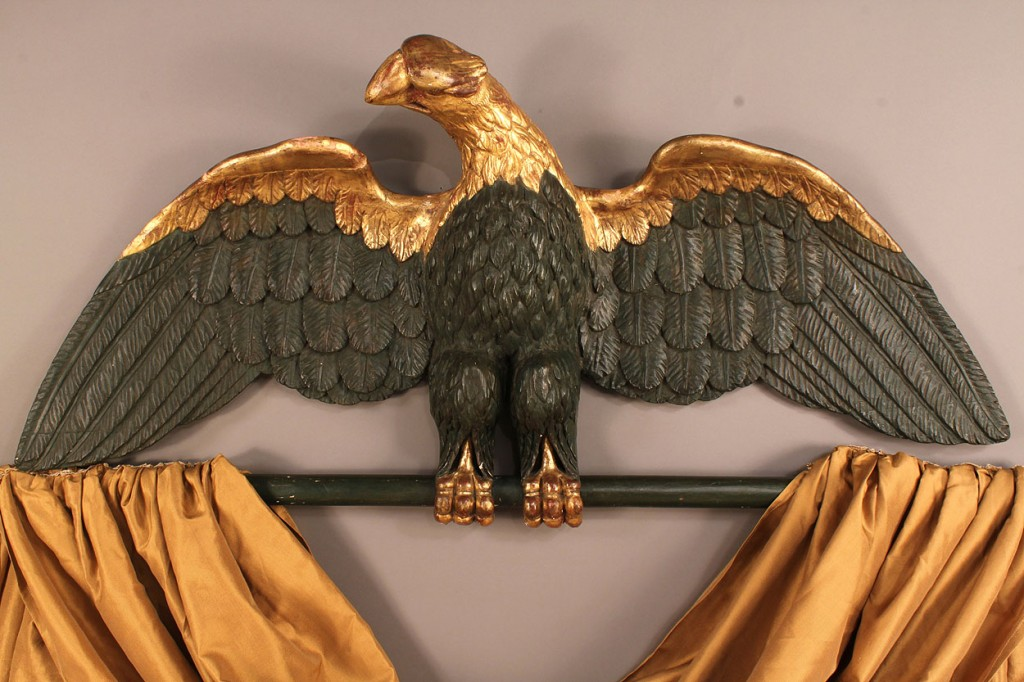 Lot 92: 19th c. parcel gilt carved eagle w/spear