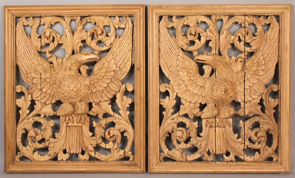 Lot 93: Pair Carved Eagle Panels