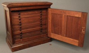Lot 95: Mahogany Collector's Cabinet, 19th c.