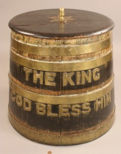 Lot 96: Brass and Oak Whiskey Barrel