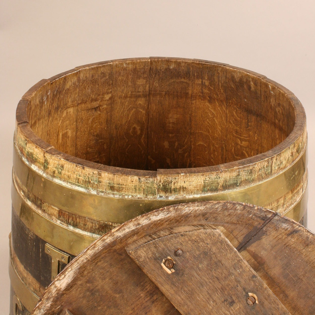 Lot 96: Brass and Oak Whiskey Barrel